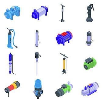 Set di icone della pompa. insieme isometrico delle icone della pompa per il web isolato su priorità bassa bianca