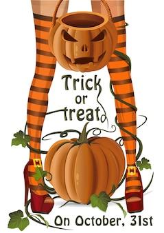 Sacchetto di zucca per caramelle ad halloween.