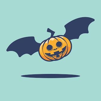 Illustrazione di halloween pipistrello zucca