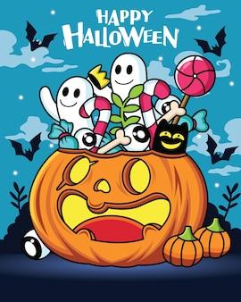 Cartone animato zucca con espressione carina con decorazioni di halloween