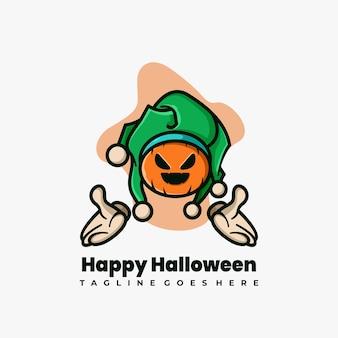 Illustrazione vettoriale di design del logo della mascotte del personaggio della zucca