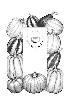 Modello struttura zucca. illustrazioni disegnate a mano di vettore. sfondo del ringraziamento in stile retrò con la raccolta della zucca. sfondo autunno.