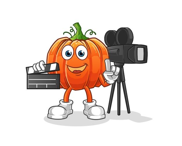 Mascotte del regista di zucca. cartone animato