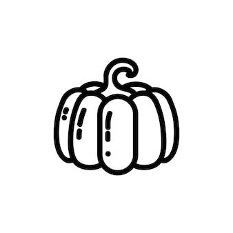 Icona di zucca piatto delineato. marchio di verdure di vettore isolato su priorità bassa bianca. simbolo del cibo vegano, glifo dei media per il web