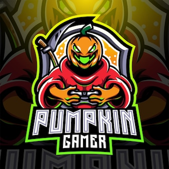 Logo mascotte esportatore di zucca gamer