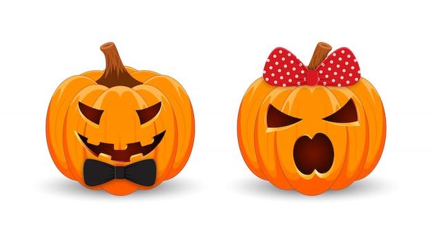 Ragazzo e ragazza della zucca su fondo bianco. il simbolo principale della vacanza happy halloween.