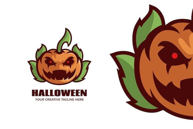 Modello di logo della mascotte dei cartoni animati di zucca di halloween