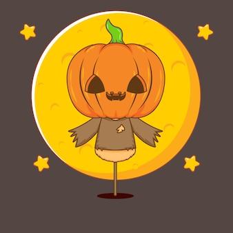 Illustrazione del personaggio di zucca di halloween mostro chibi