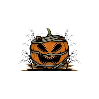 Illustrazione vettoriale di zucca halloween mummia