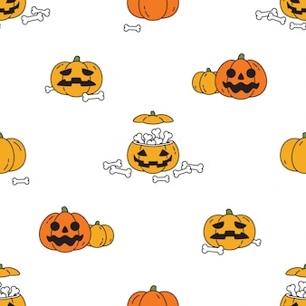 Personaggio dei cartoni animati di zucca halloween senza cuciture