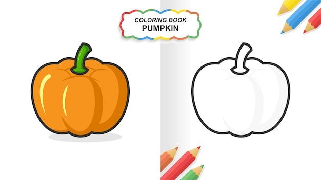 Libro da colorare disegnato a mano della zucca per l'apprendimento. colore piatto pronto per la stampa