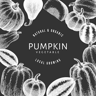 Illustrazioni disegnate a mano della zucca sulla lavagna. sfondo del ringraziamento in stile retrò con la raccolta della zucca. sfondo autunno.