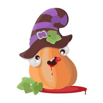 Illustrazione disegnata a mano del fumetto divertente di progettazione piana di halloween del cappello della zucca