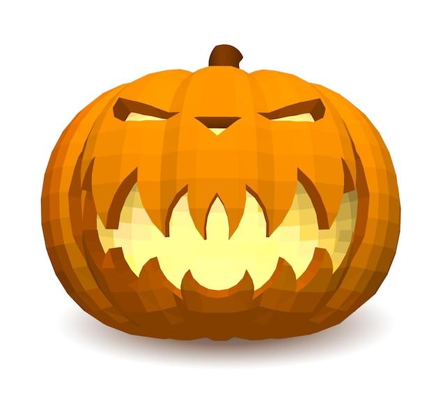 Testa di zucca su uno sfondo bianco per la decorazione di qualsiasi grafica natalizia per le vacanze di halloween.