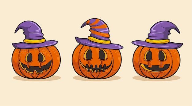 Testa di zucca con cappello da strega, set di halloween