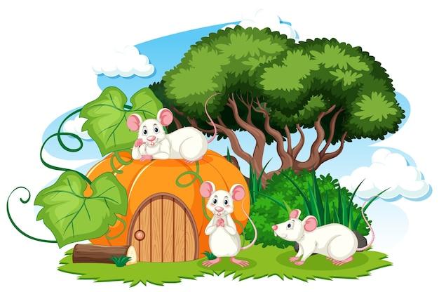 Casa di zucca con tre mouse in stile cartone animato su sfondo bianco