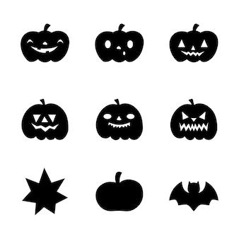 Set di illustrazioni di zucca con illustrazione vettoriale di varie facce