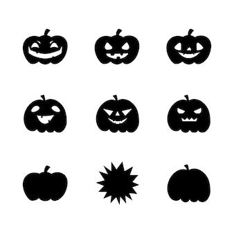 Insieme dell'illustrazione della zucca con varie facce. illustrazione vettoriale