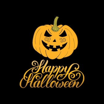 Illustrazione di zucca con scritta happy halloween per carta di invito a una festa, poster. sfondo di ognissanti.