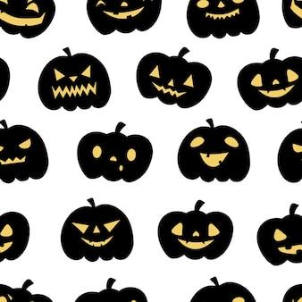 Zucca jack o lanterna. reticolo senza giunte di halloween. sfondo infantile