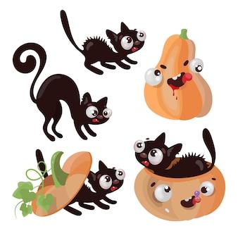Pumpkin kitten halloween animal comic funny cartoon disegnati a mano