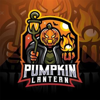 Logo della mascotte di esportatore di lanterna di zucca