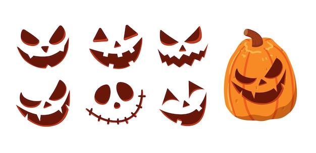 Illustrazione di halloween del viso lungo della zucca