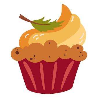 Muffin alla zucca. dolce di stagione autunnale. prodotti da forno casalinghi per le feste. muffin con crema di formaggio e decorazioni autunnali. dolce tradizionale del giorno del ringraziamento. illustrazione vettoriale in stile cartone animato piatto.