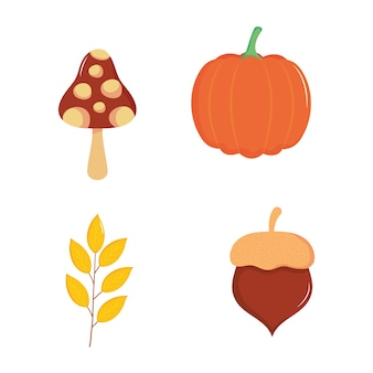 Icona di zucca, funghi e ringraziamento impostato su sfondo bianco