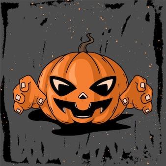 Illustrazione disegnata a mano del carattere della senape della zucca per helloween