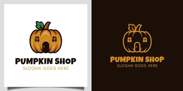 Il design vettoriale del negozio di zucca per vegetariani, l'evento del mercato di halloween richiede il design del logo del giorno