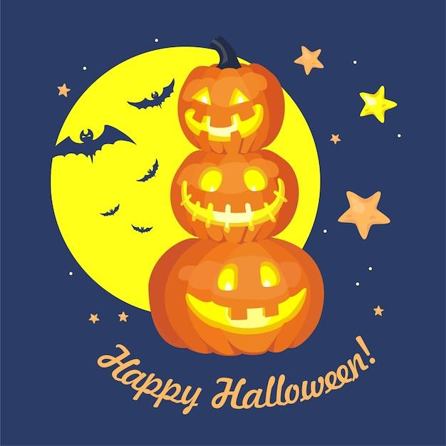 Pupazzo di neve zucca, luna piena, stelle, sagome di pipistrelli, felice iscrizione di halloween.