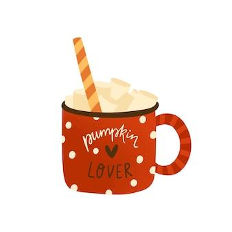 Spezie di zucca in casa latte piatto illustrazione vettoriale. gustoso cappuccino con marshmallow e bastoncino di zucchero isolato su bianco. bevanda dolce calda di stagione autunnale in tazza rossa. bevanda moka in tazza.
