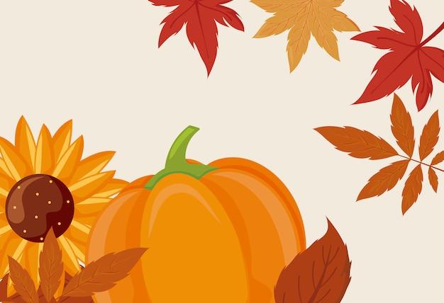 Girasole della zucca e foglie di progettazione di vettore di giorno di ringraziamento