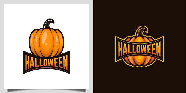 Il design del fumetto vettoriale di zucca per vegetariani, l'evento del mercato di halloween richiede il design del logo del giorno