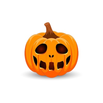 Zucca su sfondo bianco felice festa di halloween zucca arancione spaventosa con un sorriso