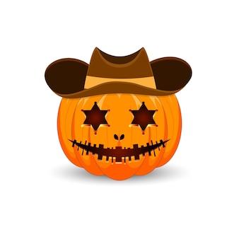 Zucca su sfondo bianco zucca arancione spaventosa con cappello sceriffo