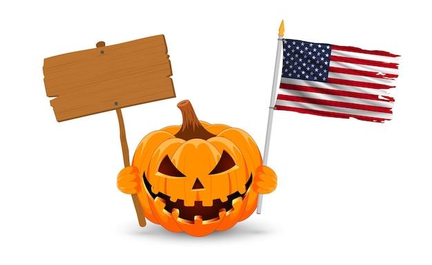 Zucca con striscione in legno bianco e bandiera usa il simbolo principale del felice halloween