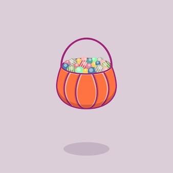 Zucca con caramelle in stile piatto per halloween. illustrazione vettoriale. isolato.