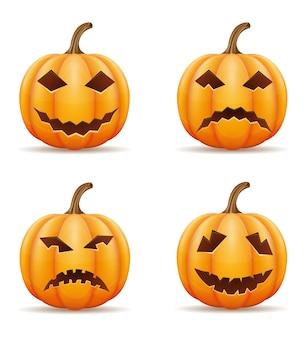 Zucca con facce orribili per la celebrazione di halloween illustrazione vettoriale isolato su sfondo bianco