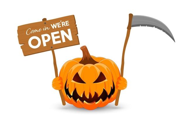Zucca con stendardo in legno e falce il simbolo principale del felice halloween
