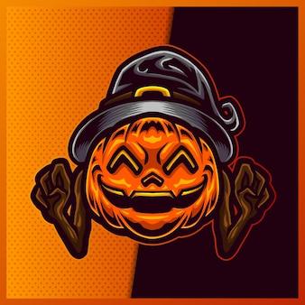 Pumpkin wizard esport e design del logo mascotte sportiva.