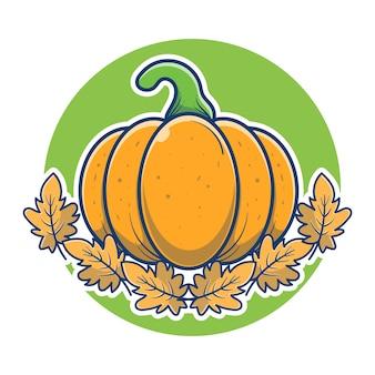 Zucche e foglie di autunno per l'illustrazione del giorno del ringraziamento. celebrazione del giorno del ringraziamento. concetto di logo di zucca fresca. stile cartone animato piatto.