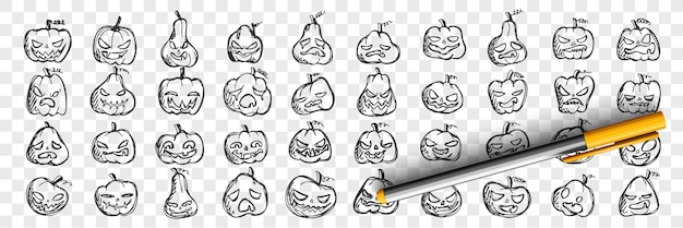Insieme di doodle di zucche. raccolta di modelli di modelli di schizzi a matita disegnati a mano di facce di zucca con emozioni arrabbiate o felici su sfondo trasparente. illustrazione del simbolo di halloween.