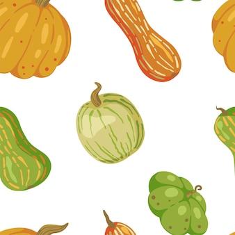 Zucche, reticolo senza giunte del raccolto di caduta. ornamento astratto di stagione autunnale.