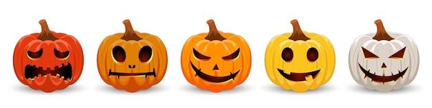 Zucche per halloween set multicolore di zucche spaventose e divertenti per happy halloween