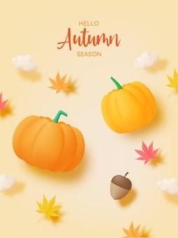Zucche con illustrazione vettoriale di sfondo foglie autunnali