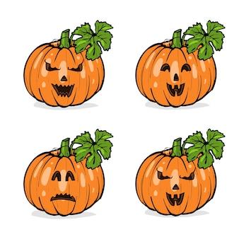 Zucche con facce diverse per halloween con foglie verdi, schizzo disegnato a mano