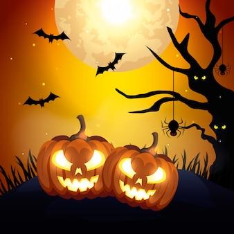 Zucche con le icone dell'illustrazione di halloween