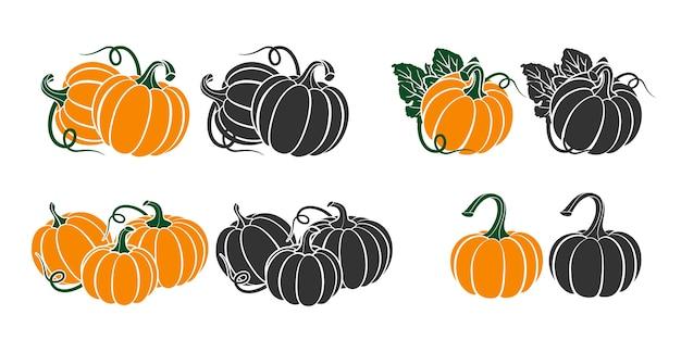 Zucche con foglie, illustrazione silhouette